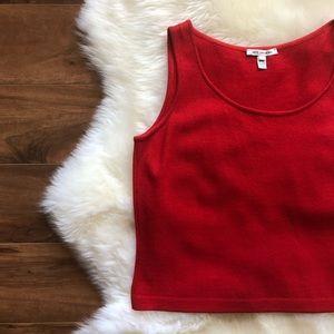 St. John Red Wool Blend Santana Knit Tank Top